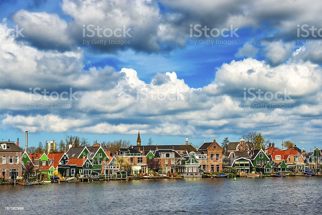 Beautiful Sumer Sky over Zaanse Schans, Holland stock photo