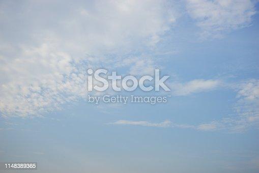 876037346 istock photo Beautiful summer cumulus clouds soft background 1148389365