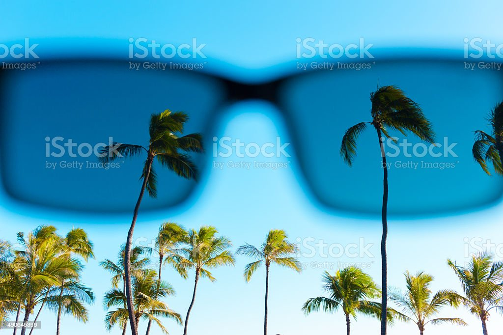 Beautiful summer day through sunglasses stock photo