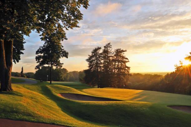 美しい夏の夜、自然の背景。 - ゴルフの写真 ストックフォトと画像