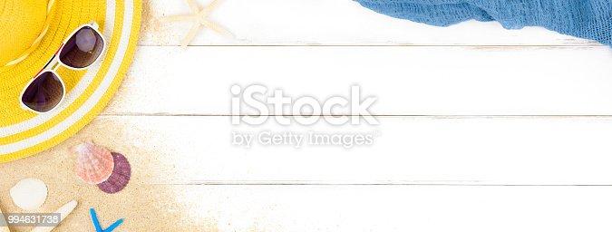 istock Beautiful summer holiday beach background on white wood panel 994631738