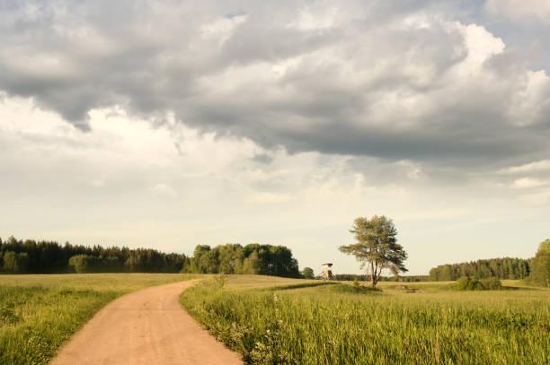 vackert sommar landskap i svensk natur med cloudscape bildbanksfoto