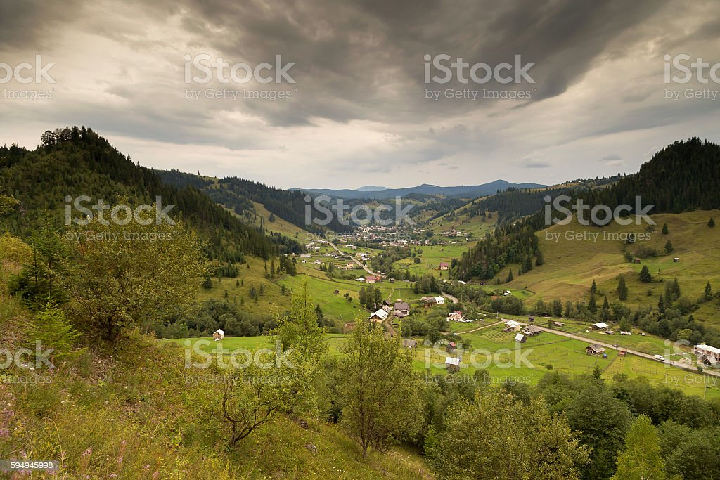 Beautiful summer landscape of the romanian village stock photo