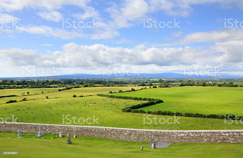 Beautiful summer landscape. View from the Rock of Cashel. stock photo