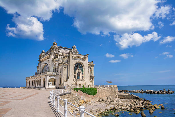 beautiful summer landscape with old casino in constanta,romania - romania stock pictures, royalty-free photos & images