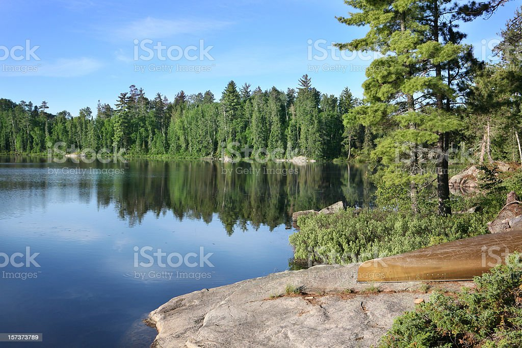 Beautiful Summer Morning on a Wilderness Lake stock photo