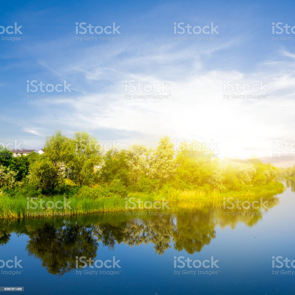 beautiful summer quiet river at the sunset stock photo