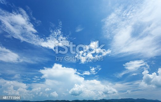 Beautiful summer sky, and silhouettes of mountains on horizon