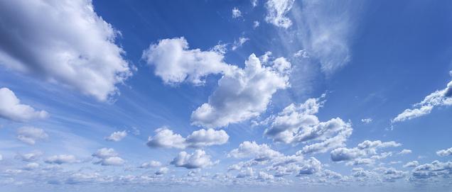 Beautiful Summer Sky. Panoramic Shot. Stock photo.