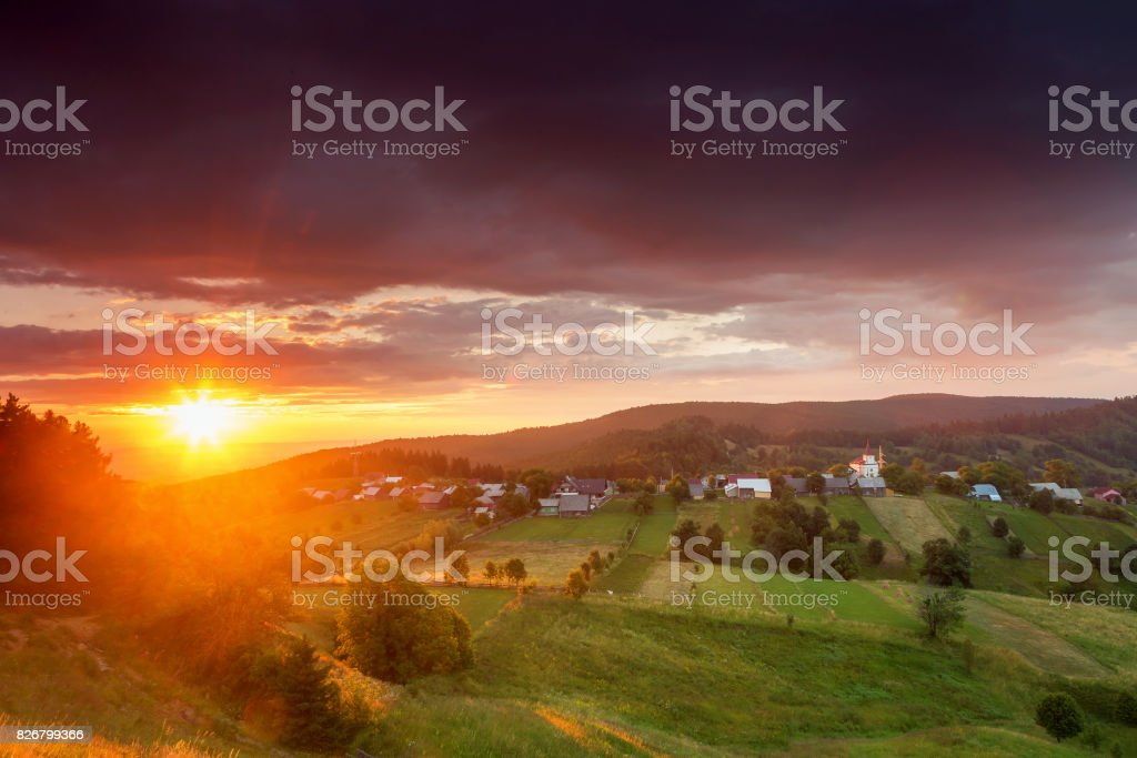 Beautiful summer sunrise stock photo