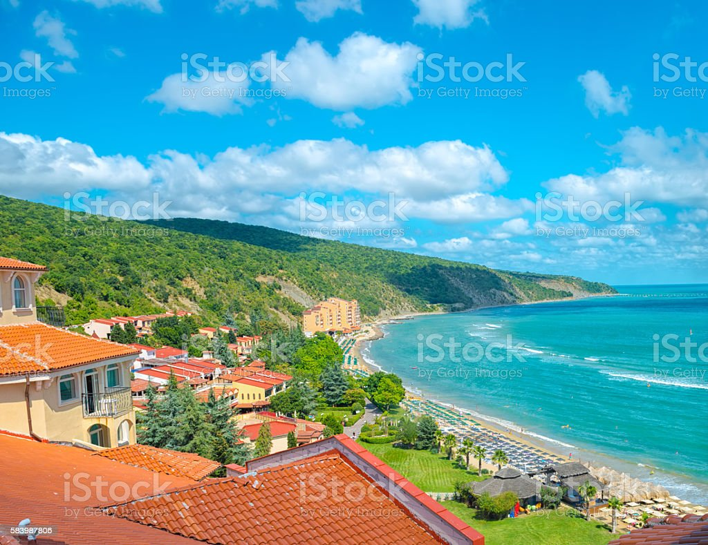 beautiful summer top view of coastline Black sea with mountain, stock photo