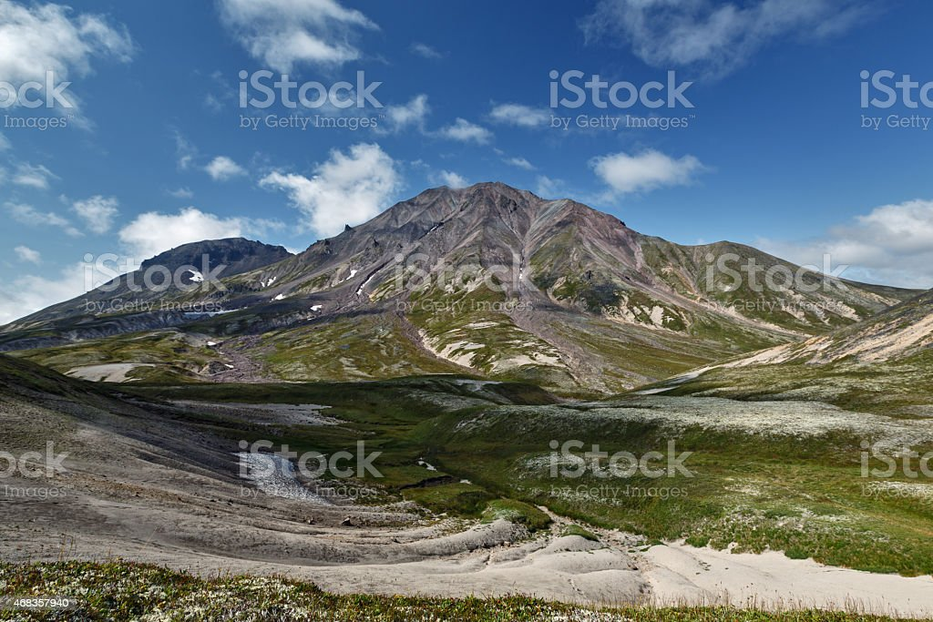 Beautiful summer view of Khangar Volcano - active volcano of Kamchatka Peninsula royalty-free stock photo
