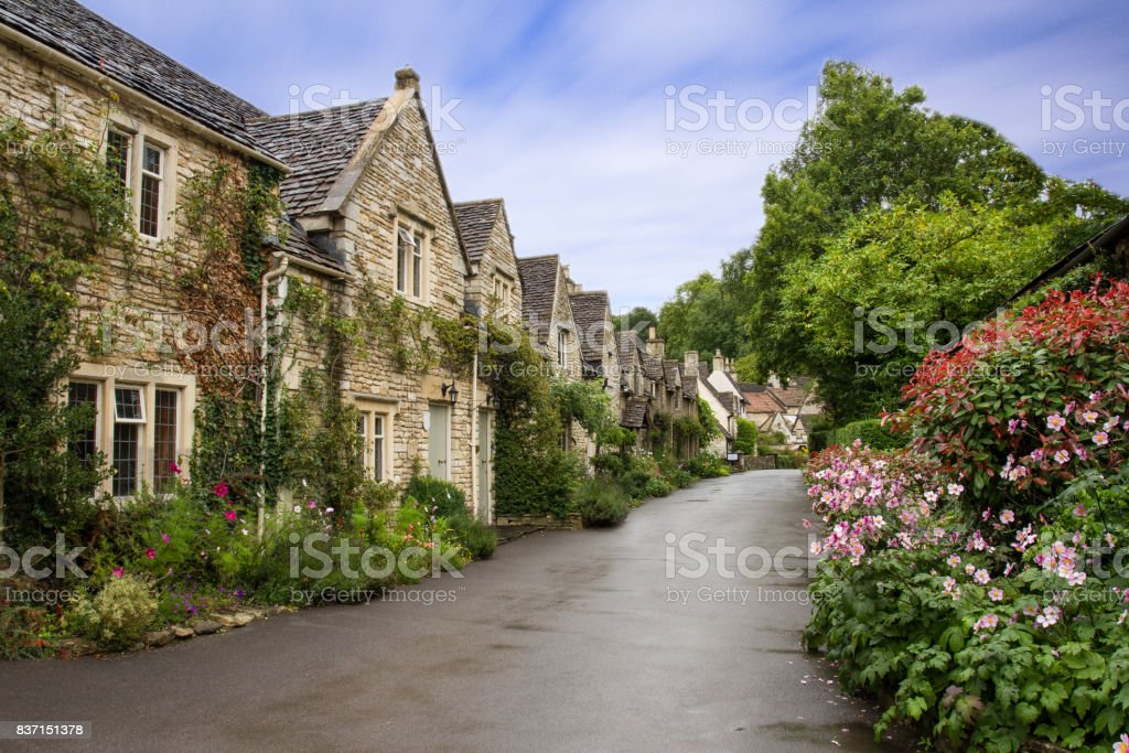 Beautiful Summer view of street in Castle Combe, Wiltshire, UK