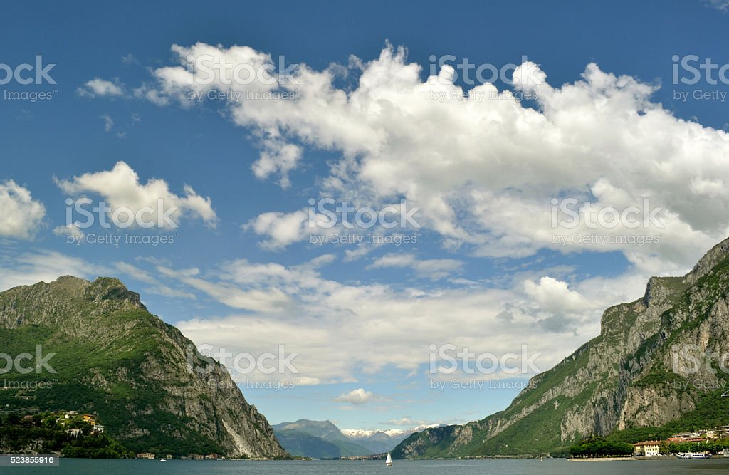 Beautiful summer view to lake Como and Lecco. stock photo