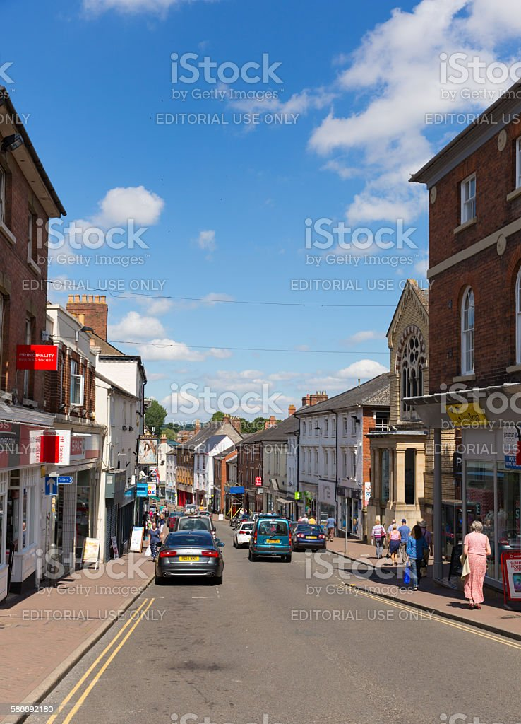 Beautiful summer weather in busy market town of Ross-on-Wye stock photo