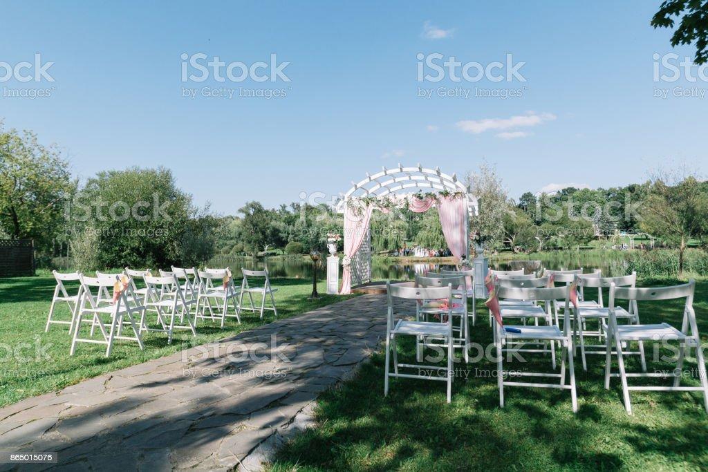 Phenomenal Beautiful Summer Wedding Ceremony Outdoors Decorated Chairs Interior Design Ideas Clesiryabchikinfo