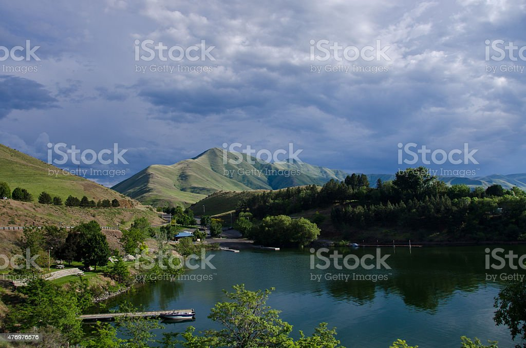 Beautiful Summertime Park in Wilderness of Idaho stock photo