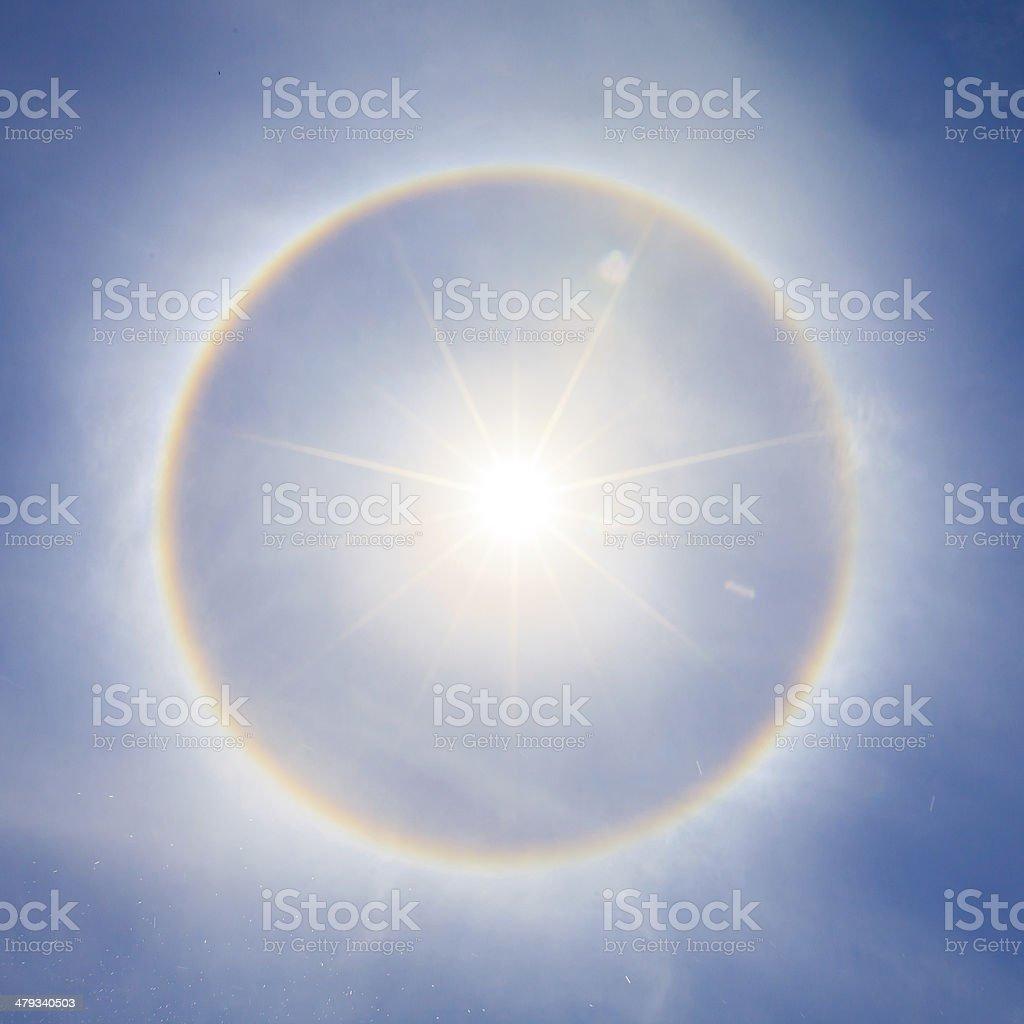 Beautiful sun halo phenomenon in thailand. stock photo