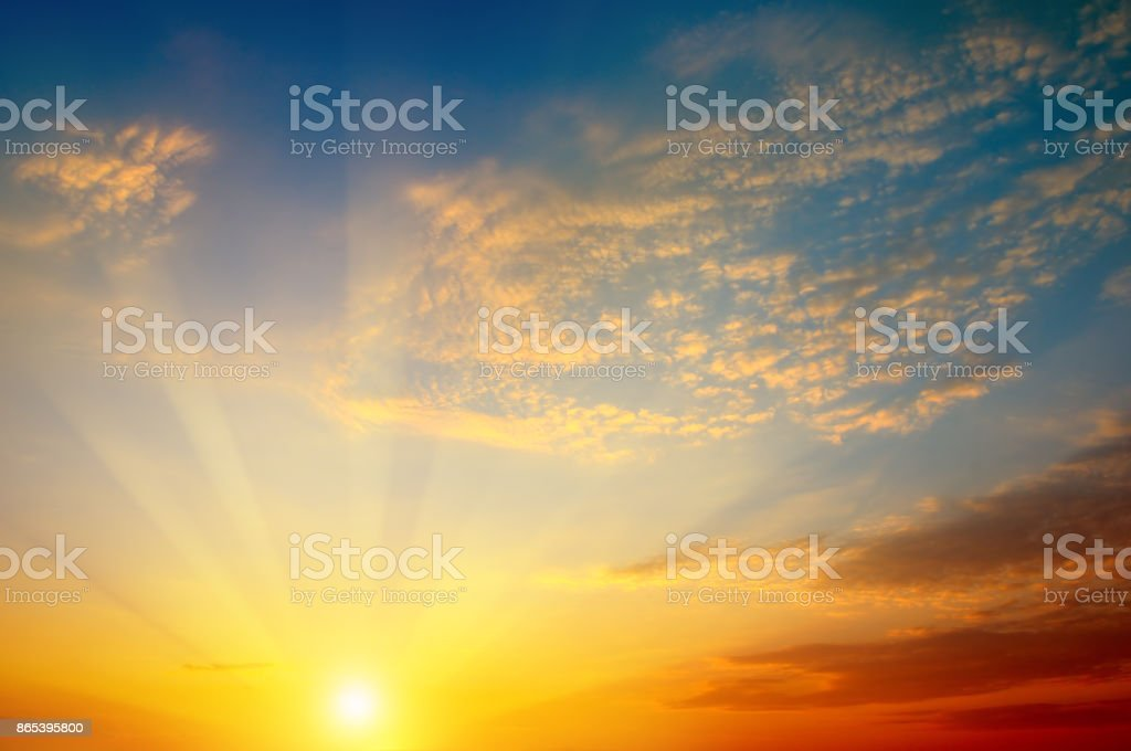 beautiful sun rise and cloudy sky stock photo