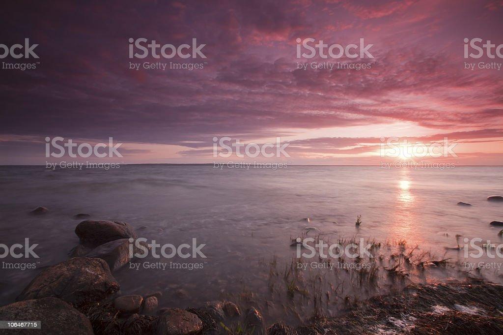 Beautiful sundown at a Swedish coastline. royalty-free stock photo
