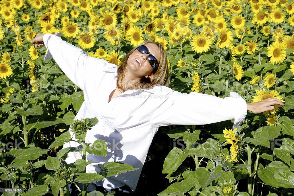 Beautiful Sunflower Woman royalty-free stock photo