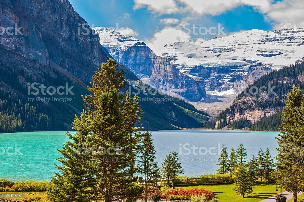 Beautiful sunny day in Banff National Park stock photo