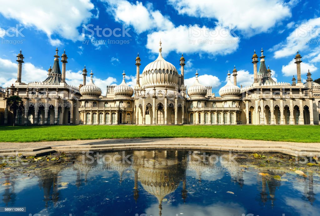 Beautiful sunny day of pavilion in Brighton England stock photo