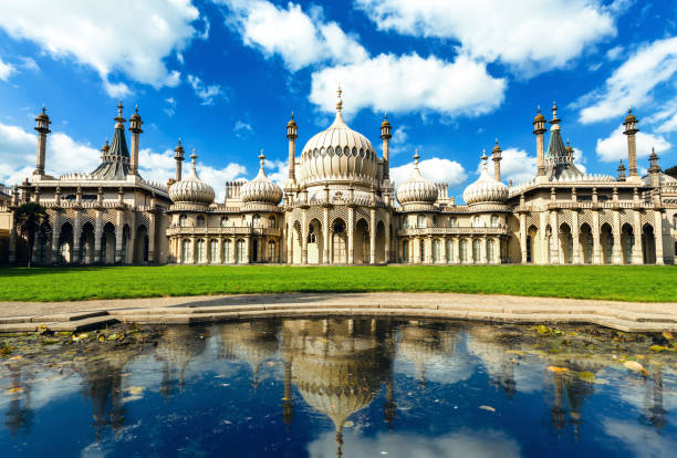 Beautiful sunny day of pavilion in Brighton England Brighton's Landscape pavilion stock pictures, royalty-free photos & images
