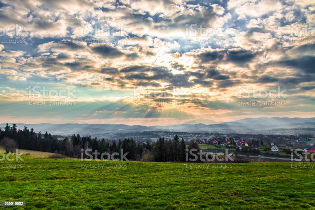 Beautiful sunny landscape stock photo
