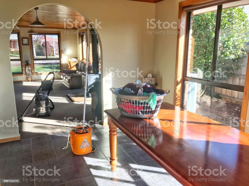 Beautiful Sunny Modest Middle Class Home Getting A Deep Cleaning Washing Moping And Vacuuming Stock Photo Download Image Now Istock