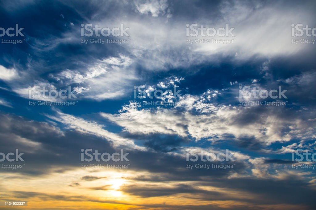 Autumn colorful sky with clouds at sunset, photographed in the Czech...