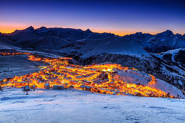 Beautiful sunrise and ski resort in the French Alps,Europe​​​ foto