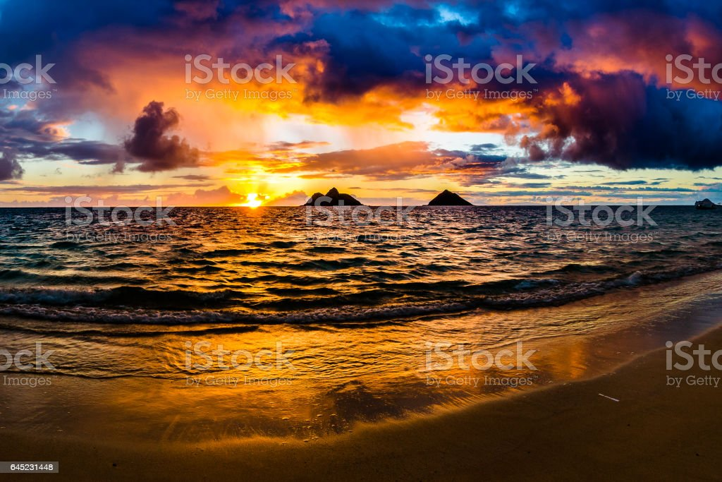 Beautiful Sunrise At Lanikai Beach In Kailua Hawaii Stock