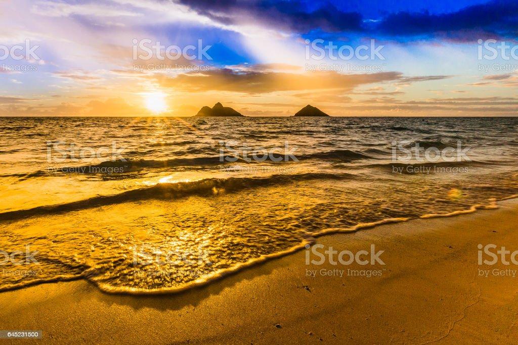 Beautiful Sunrise At Lanikai Beach In Kailua Hawaii Stock Photo Download Image Now