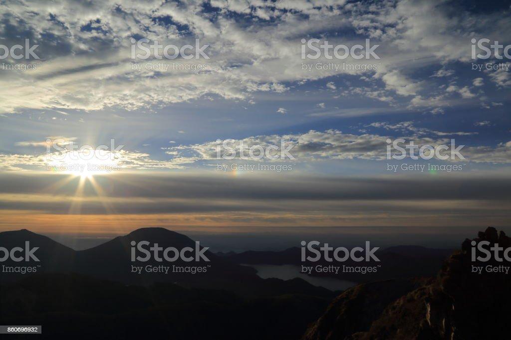 Beautiful sunrise at Mt.Nikko-Shirane stock photo