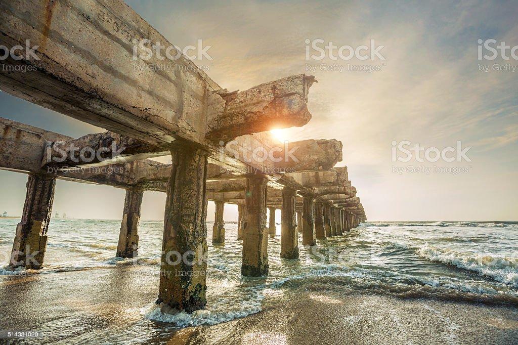 Beautiful sunrise broken bridge stock photo