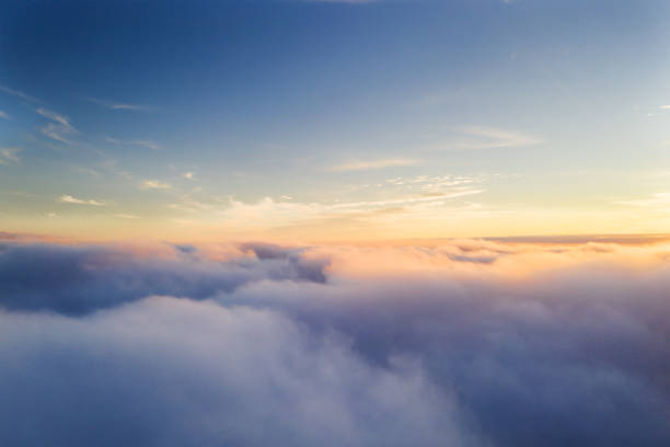 beautiful sunrise cloudy sky from aerial view - clouds imagens e fotografias de stock