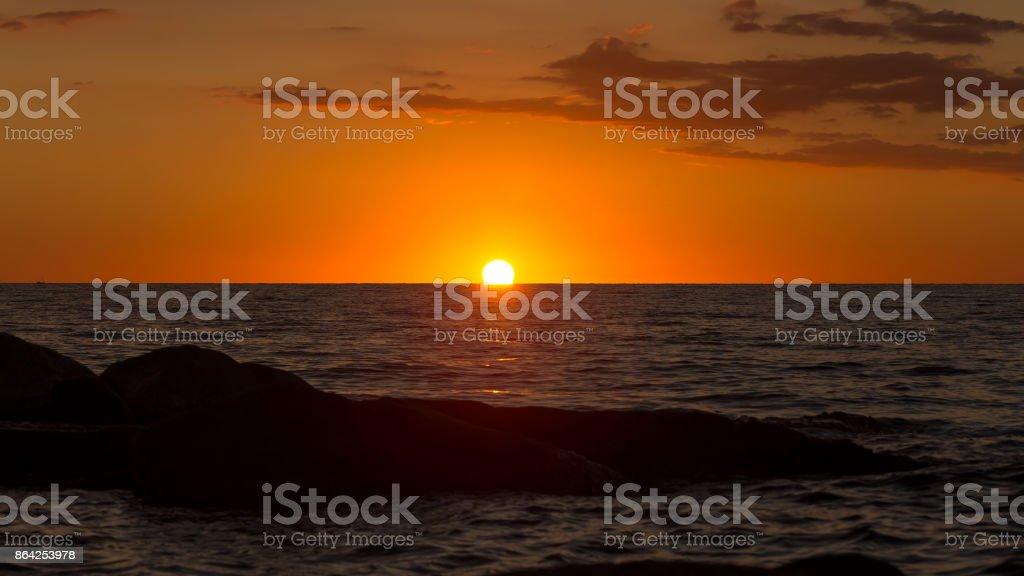Beautiful sunrise in a bay in Costa Brava, Spain royalty-free stock photo