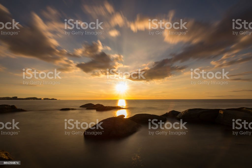 Beautiful sunrise in a bay in Costa Brava, Spain royalty-free stock photo