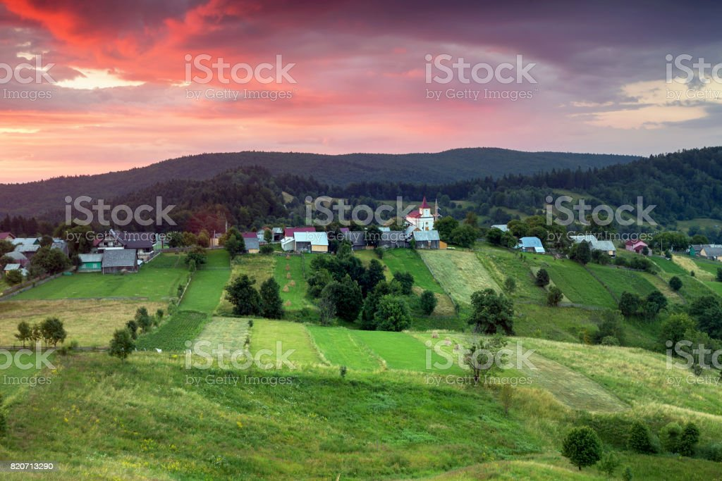 Beautiful sunrise in Bucovina stock photo