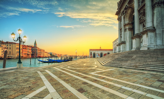 Beautiful sunrise in Grand canal with Church of Santa Maria, Ven