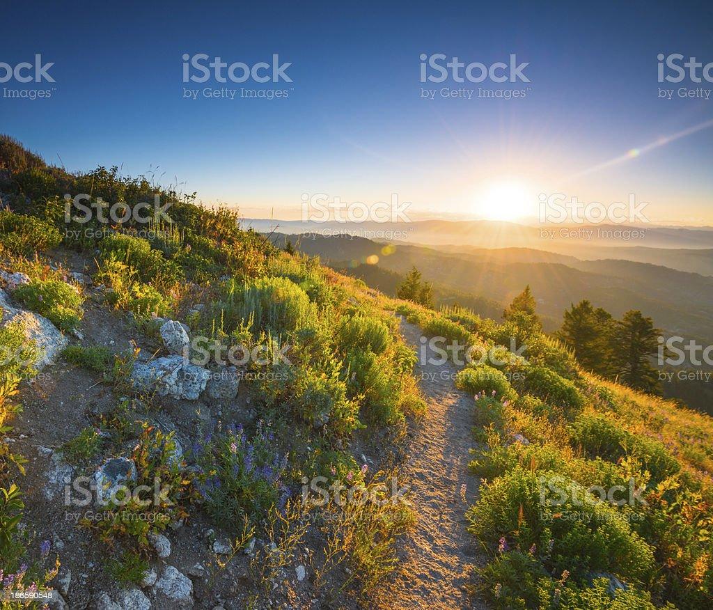 Beautiful sunrise in Idaho mountains stock photo