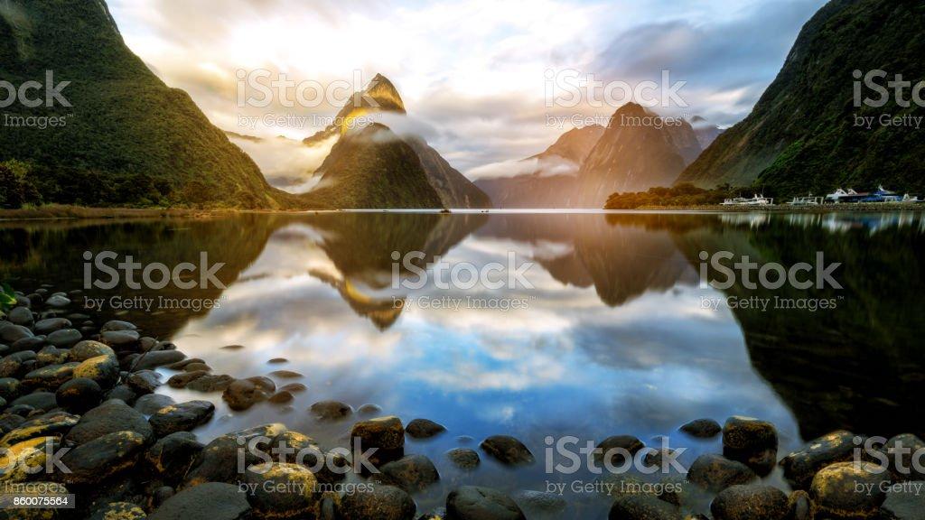 Beautiful Sunrise in Milford Sound, New Zealand stock photo