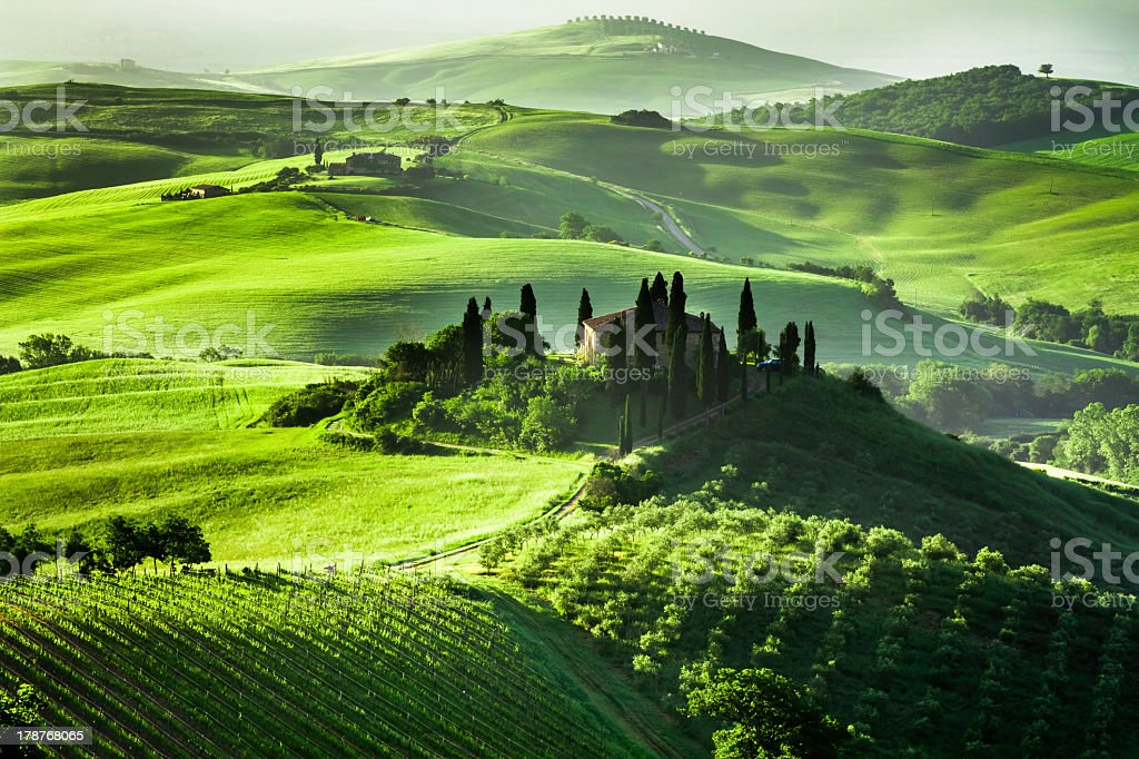 Beautiful sunrise in San Quirico d'Orcia, Tuscany, Italy royalty-free stock photo