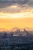 Beautiful sunrise of Seoul, cityscapse at South Korea