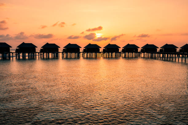 A beautiful sunrise in the Maldives stock photo