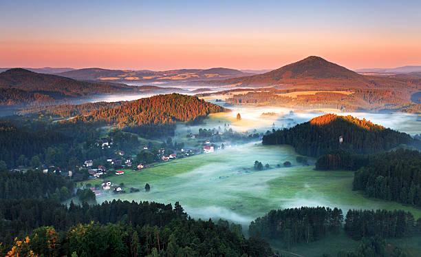 Beautiful sunrise landscape of Saxony mountain in Czech republic stock photo
