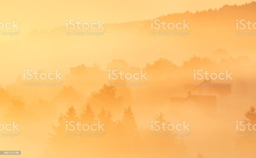 Beautiful sunrise, landscape with mist and fog, Grönebach, Sauerland, Germany stock photo