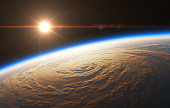 Beautiful Sunrise On The Background Of Hurricane. 3D Illustration.