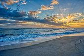 The sun rises over the Atlantic Ocean at the Merritt Island National Wildlife Refuge on the Space Coast of Florida.